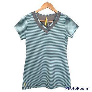 Lolë Activewear V-Neck T-Shirt Light Teal Grey Stripes